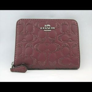 Coach Wallet Glitter Bifold Leather Wine F87757